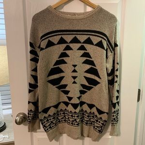 Forever 21 Tan/Black Oversized Sweater Size S